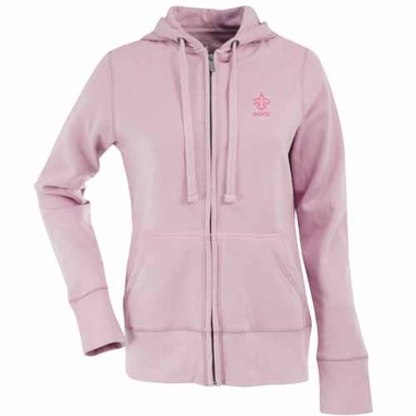 New Orleans Saints Womens Zip Front Hoody Sweatshirt (Color: Pink)