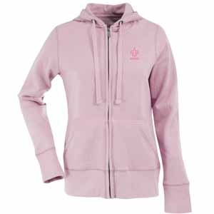 New Orleans Saints Womens Zip Front Hoody Sweatshirt (Color: Pink) - Small