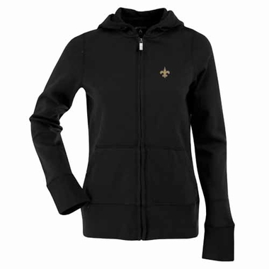 New Orleans Saints Womens Zip Front Hoody Sweatshirt (Team Color: Black)