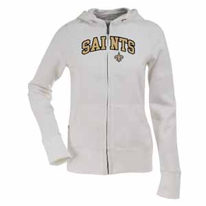 New Orleans Saints Applique Womens Zip Front Hoody Sweatshirt (Color: White) - Small