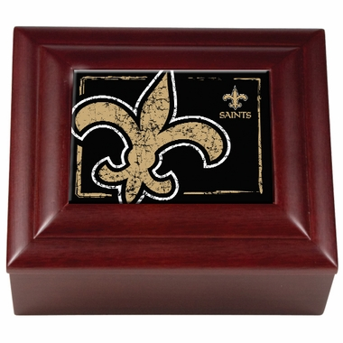 New Orleans Saints Wooden Keepsake Box