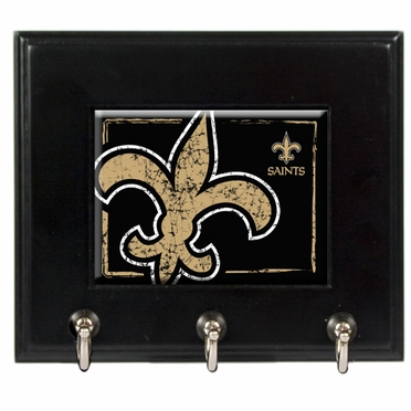 New Orleans Saints Wooden Keyhook Rack