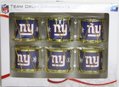New York Giants 2012 Plastic Drum 6 Pack Ornament Set