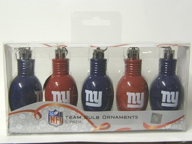 New York Giants 5 Pack Bulb Ornaments