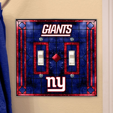 New York Giants Art Glass Lightswitch Cover (Double)