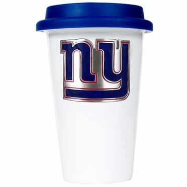 New York Giants Ceramic Travel Cup (Team Color Lid)