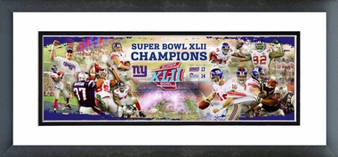 New York Giants Champions SuperBowl XLII Framed / Double Matted Photoramic