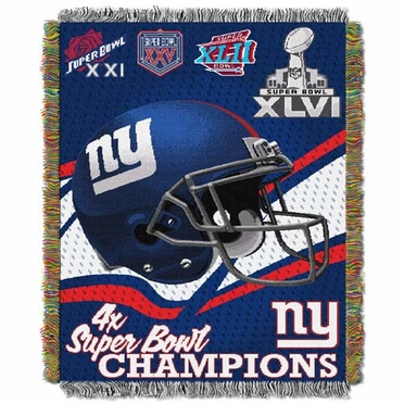 New York Giants Commerative Jacquard Woven Blanket