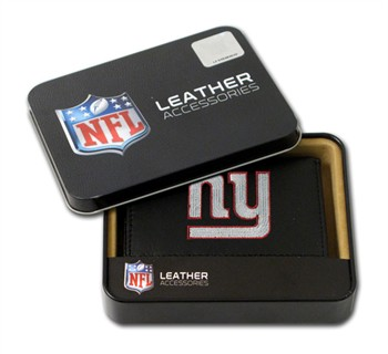 New York Giants Embroidered Leather Tri-Fold Wallet