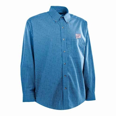 New York Giants Mens Esteem Check Pattern Button Down Dress Shirt (Team Color: Royal)