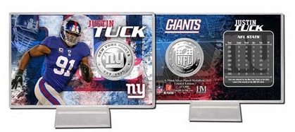 New York Giants Justin Tuck Silver Coin Card