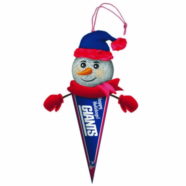 New York Giants Light Up Snowman Pennant Ornament (Set of 3)