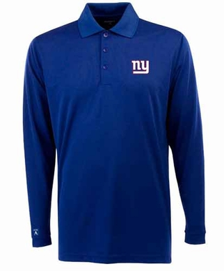 New York Giants Mens Long Sleeve Polo Shirt (Team Color: Royal)