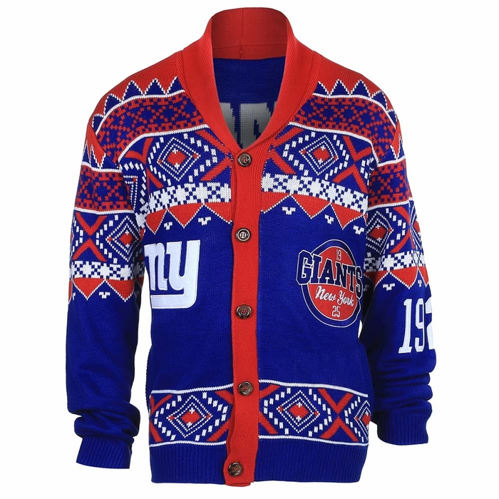 New York Giants Ugly Sweater Cardigan Sweater Vest