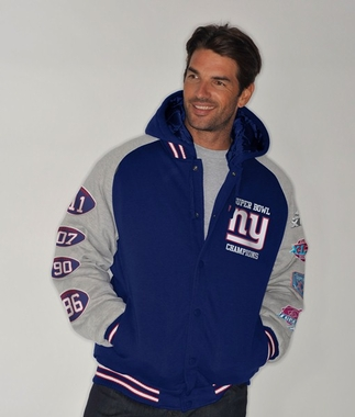 New York Giants NFL Defender Super Bowl Commemorative Detachable Hooded Jacket
