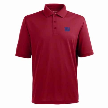 New York Giants Mens Pique Xtra Lite Polo Shirt (Color: Red)
