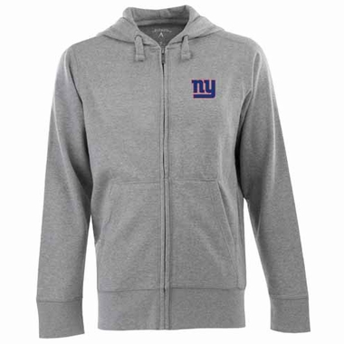 New York Giants Mens Signature Full Zip Hooded Sweatshirt (Color: Gray)