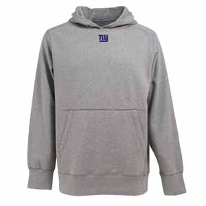 New York Giants Mens Signature Hooded Sweatshirt (Color: Gray) - Large