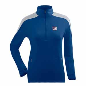 New York Giants Womens Succeed 1/4 Zip Performance Pullover (Team Color: Royal) - Large