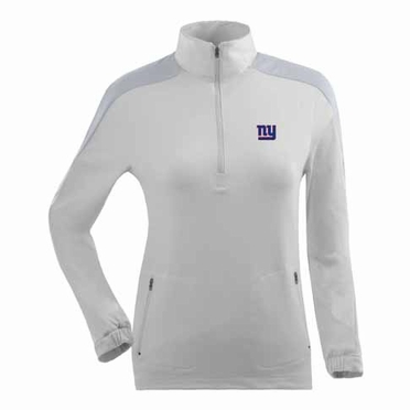 New York Giants Womens Succeed 1/4 Zip Performance Pullover (Color: White)
