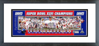 New York Giants Super Bowl XLVI Champions Framed / Double Matted Photoramic -
