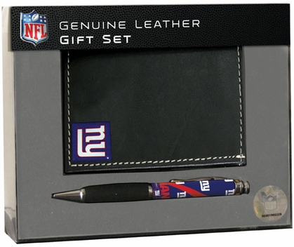 New York Giants Tri-Fold Wallet and Pen Set