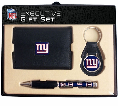 New York Giants Trifold Wallet Key Fob and Pen Gift Set