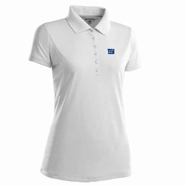 New York Giants Womens Pique Xtra Lite Polo Shirt (Color: White)