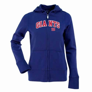 New York Giants Applique Womens Zip Front Hoody Sweatshirt (Team Color: Royal)