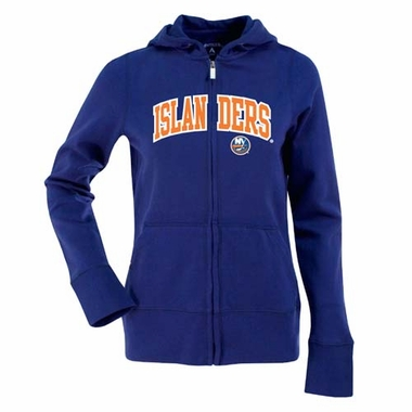 New York Islanders Applique Womens Zip Front Hoody Sweatshirt (Color: Royal)