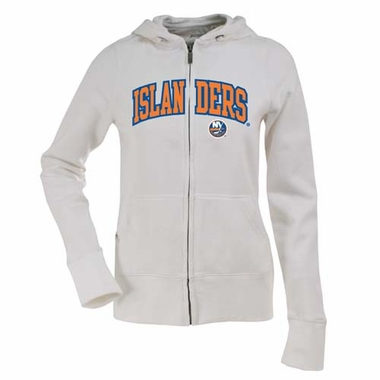 New York Islanders Applique Womens Zip Front Hoody Sweatshirt (Color: White)