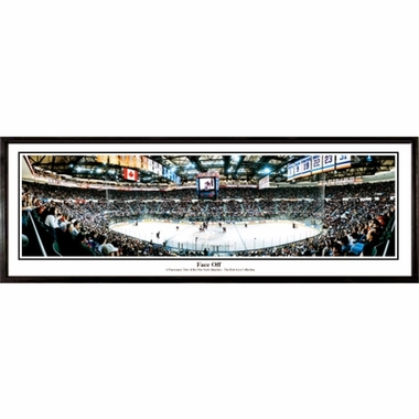 New York Islanders Face Off Framed Panoramic Print