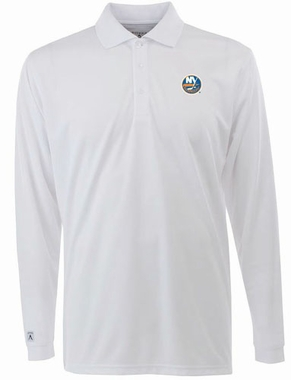 New York Islanders Mens Long Sleeve Polo Shirt (Color: White)