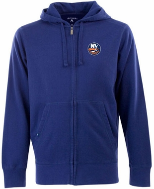 New York Islanders Mens Signature Full Zip Hooded Sweatshirt (Team Color: Royal)