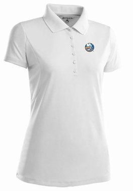 New York Islanders Womens Pique Xtra Lite Polo Shirt (Color: White)