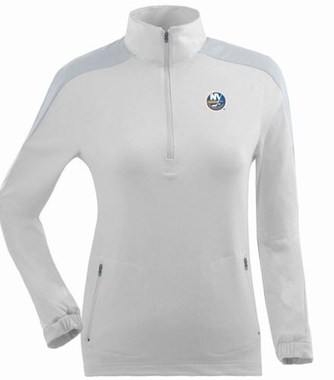 New York Islanders Womens Succeed 1/4 Zip Performance Pullover (Color: White)