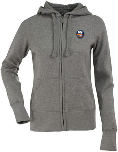 New York Islanders Womens Zip Front Hoody Sweatshirt (Color: Gray) - Large