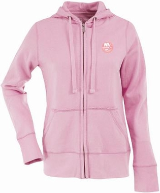 New York Islanders Womens Zip Front Hoody Sweatshirt (Color: Pink)