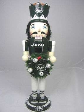 New York Jets 14 Inch Wreath Nutcracker Figurine