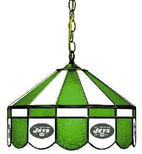 New York Jets 16 Inch Diameter Stained Glass Pub Light