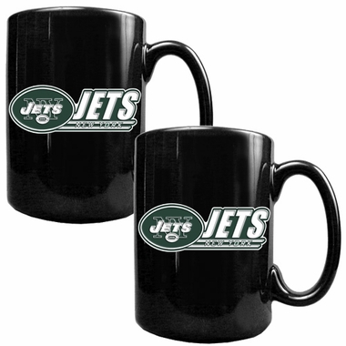 New York Jets 2 Piece Coffee Mug Set (Wordmark)
