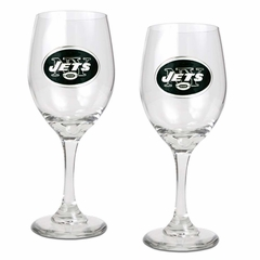 New York Jets 2 Piece Wine Glass Set