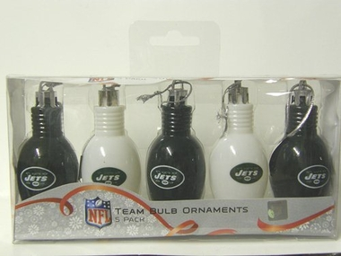 New York Jets 5 Pack Bulb Ornaments