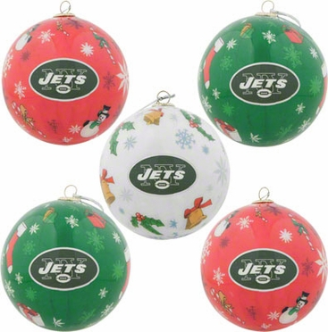 New York Jets 5 Pack Decoupage Ball Ornament Set