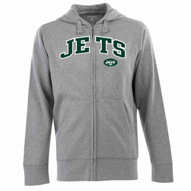 New York Jets Mens Applique Full Zip Hooded Sweatshirt (Color: Gray)