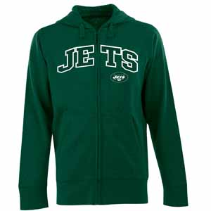 New York Jets Mens Applique Full Zip Hooded Sweatshirt (Team Color: Green) - Large