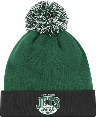 New York Jets Arched Logo Vintage Cuffed Pom Hat