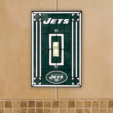 New York Jets Art Glass Lightswitch Cover