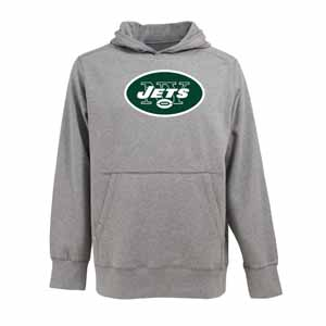 New York Jets Big Logo Mens Signature Hooded Sweatshirt (Color: Gray) - Medium