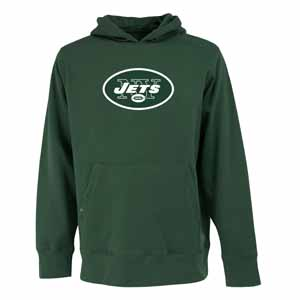 New York Jets Big Logo Mens Signature Hooded Sweatshirt (Color: Green) - Large